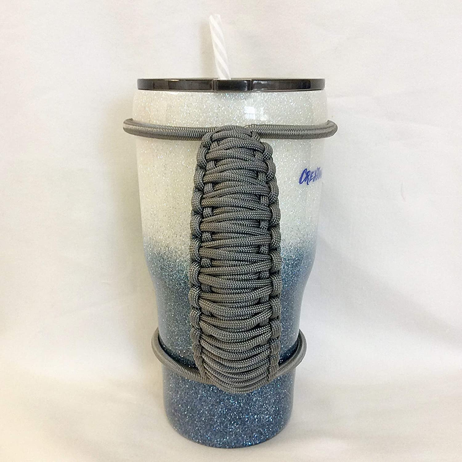 Your choice of solid color handmade colored bungee paracord made to fit most 20 30 32 40 oz strong durable handle for custom and insulated tumblers