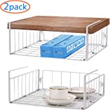 SimpleTrending Under Cabinet Organizer Shelf, 2 Pack Wire Rack Hanging Storage Baskets for Kitchen Pantry, White