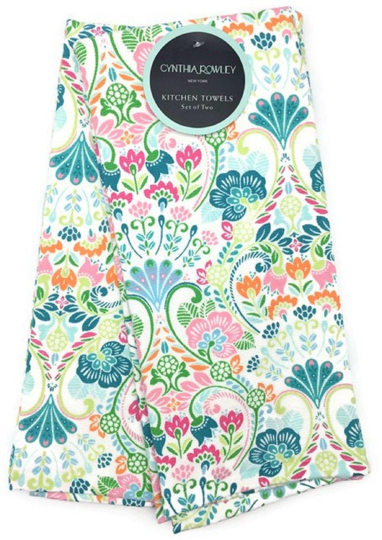 Cynthia Rowley Vibrant Floral Vines Kitchen Towel Set