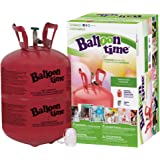 Balloon Time- Complete Kit with Standard Helium Tank, 30 Assorted Color Latex Balloons & White Ribbon