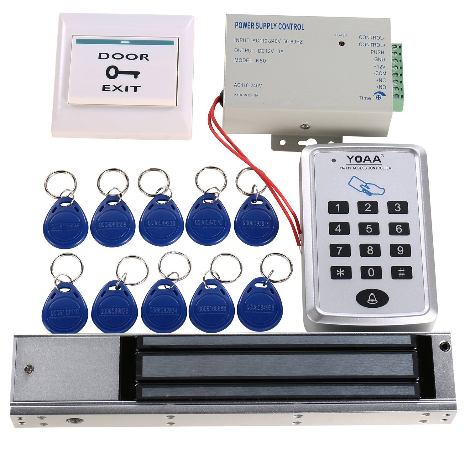 HWMATE Access Control System Kit With Keypad Power Supply 280kg Holding Force Magnetic Lock Exit Button Keyfobs For Single Door