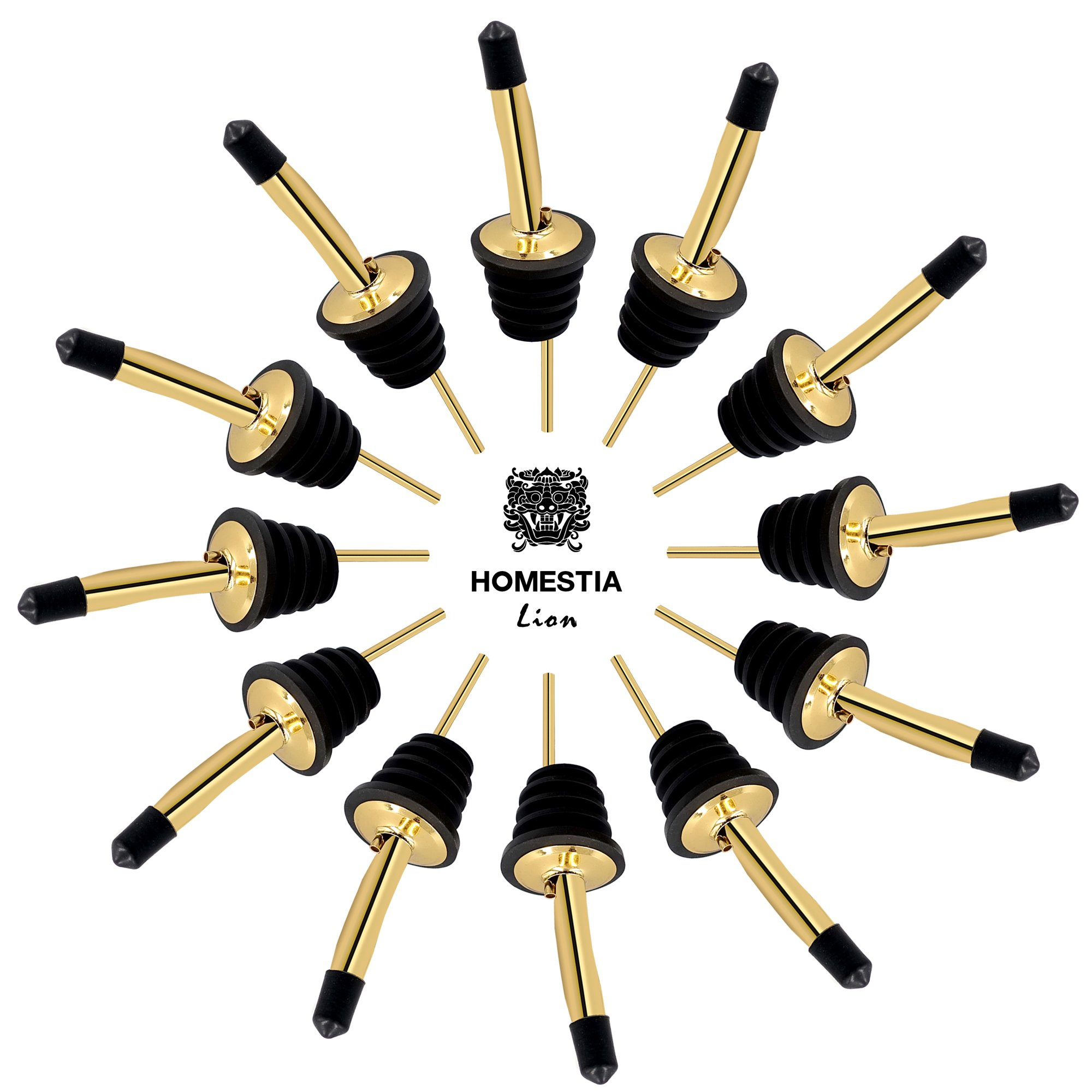 Bottle Pour Spout 12 Pack Stainless Steel Cocktail Pourer with 15 Dust Caps by Homestia, Gold