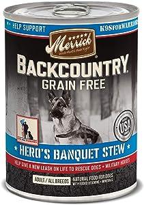 Merrick Backcountry Grain Free Wet Dog Food Chunky Lamb Dinner in Gravy - (12) 12.7 oz Cans