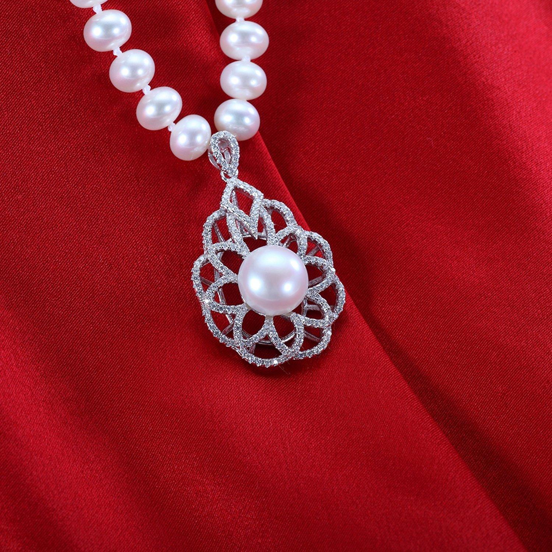 MMC Shiny Luxury Pearl Inlay Cubic Zirconia Silver Pendants Necklaces