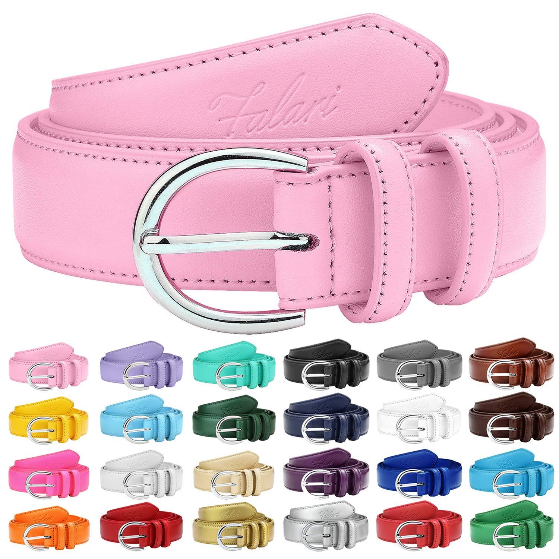 Falari Women Genuine Leather Belt Fashion Dress Belt With Single Prong Buckle 6028-24 Colors