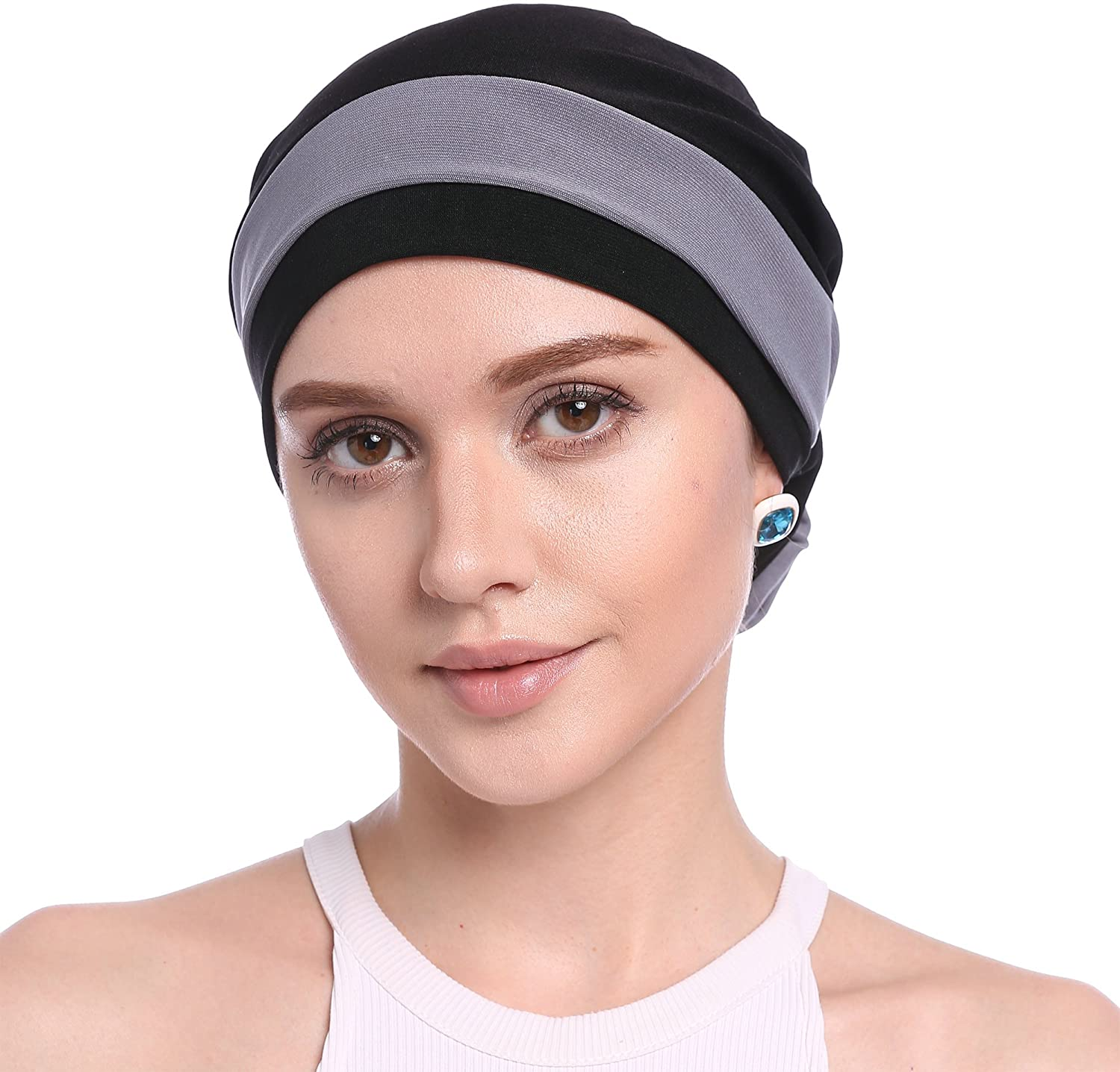 Ababalaya Women Stretch Flower Muslim Headscarf Chemo Cancer Cap in 12 Colors
