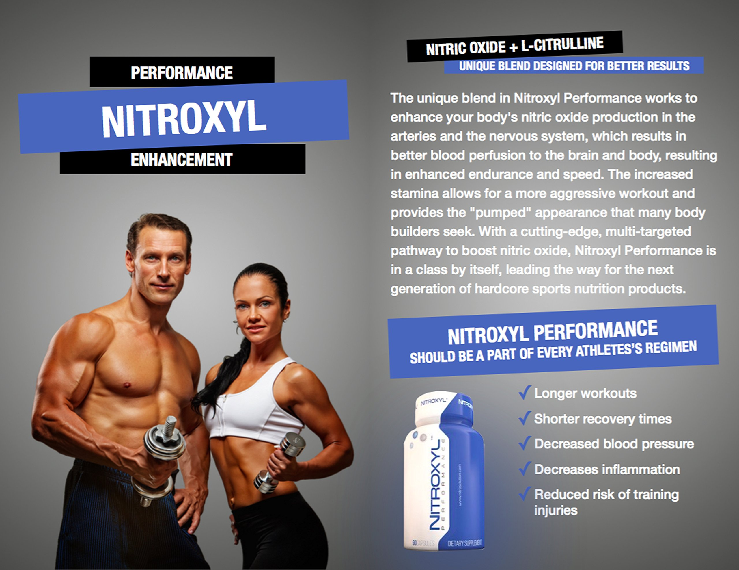 Nitroxyl Performance - Nitric Oxide Booster 180 Capsules by Nitrosolution Nitric Oxide Supplements
