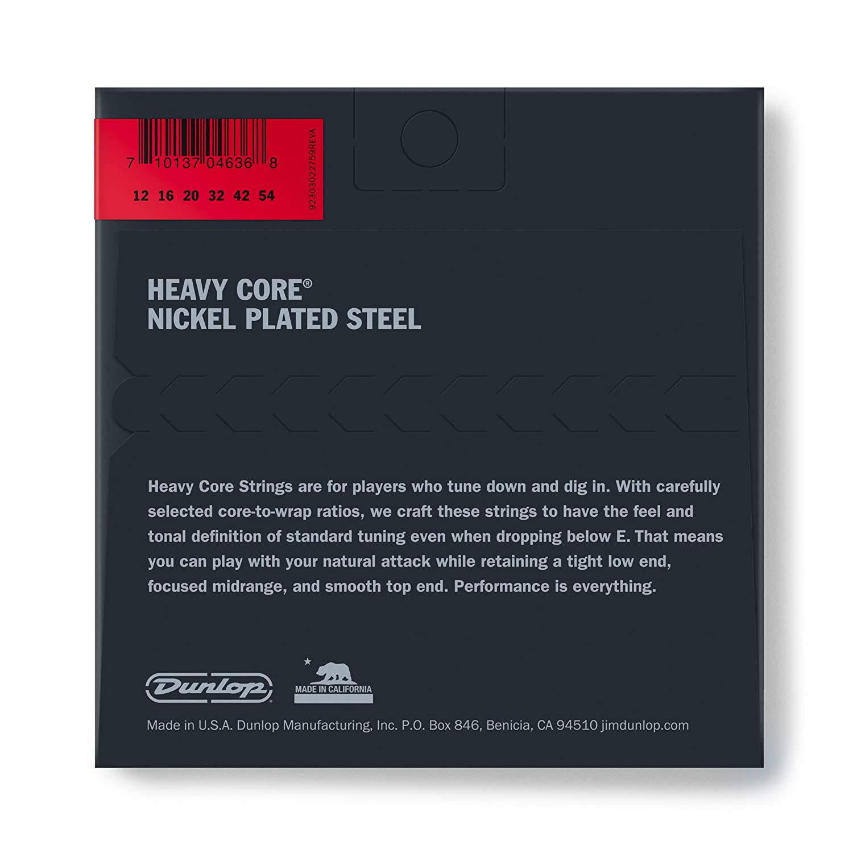 Dunlop DHCN1254 Heavy Core Nickel Steel Electric Guitar 6-String Set.012-.054 Gauge