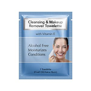Diamond Wipe Cleansing and Waterproof makeup remover towelette individual packets, alcohol free with vitamin E, hotel's choice (500 Count Case)