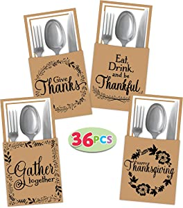 36 Thanksgivng Turkey Cutlery Decorative Utensil Holder for Autumn Fall Harvest Party Favor Supply Dinner Table Decor.