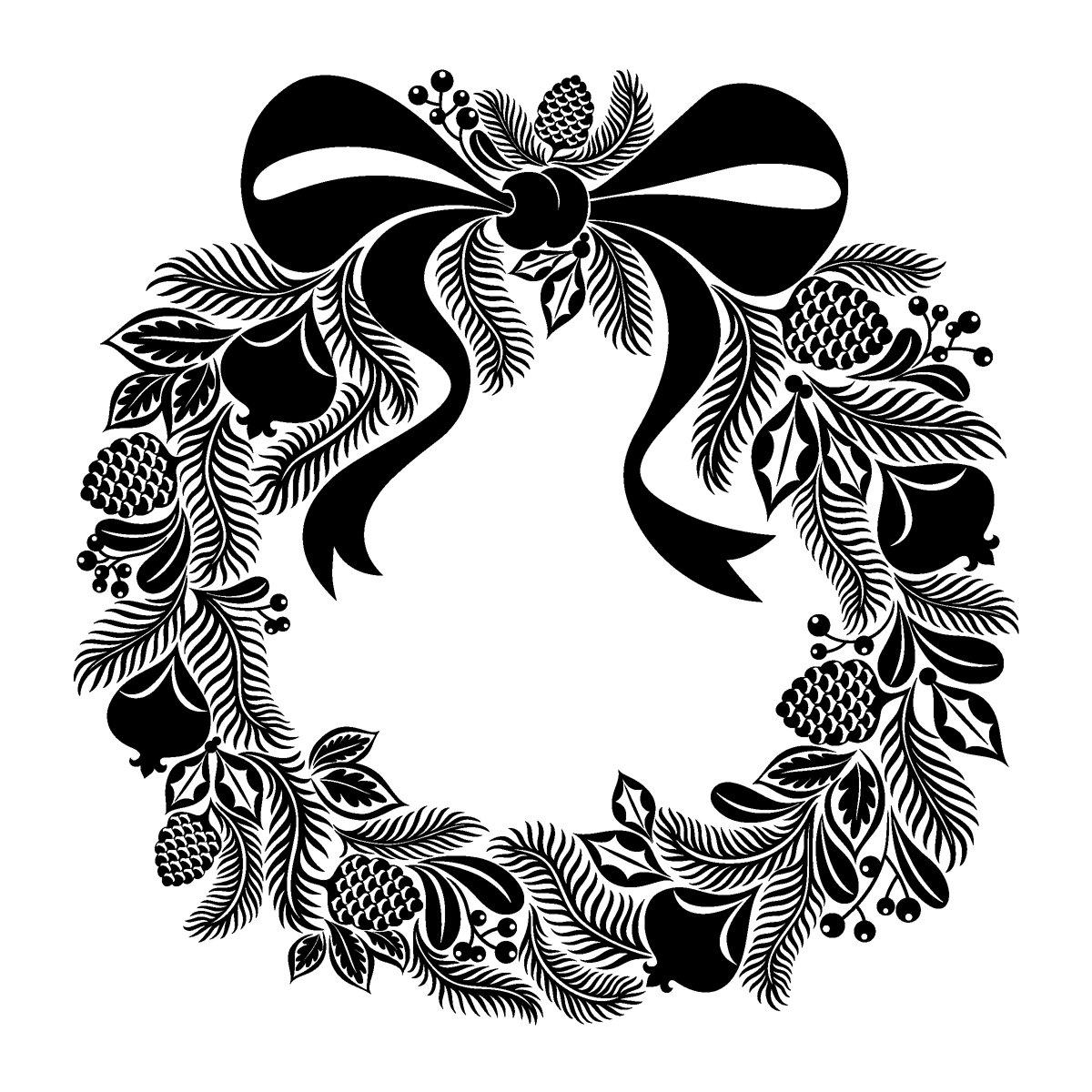 Wreath Inkadinkado Cling Stamp