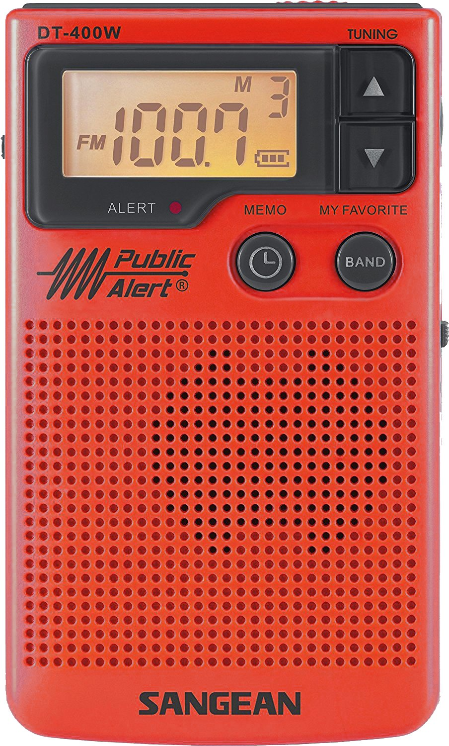 Sangean DT-400WSE RED AM/FM Digital Weather Alert Pocket Radio (Red) Special Edition