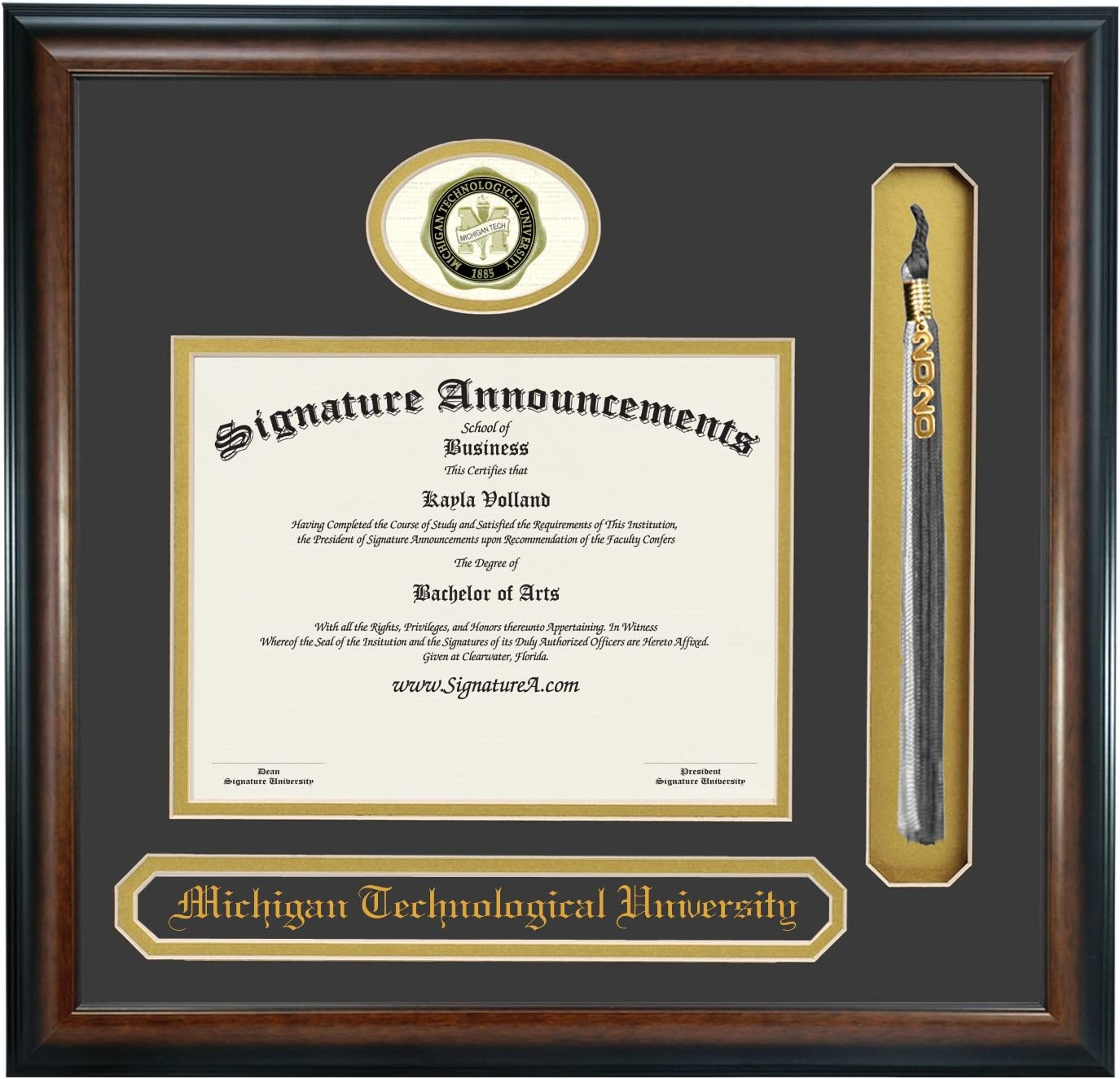Professional//Doctor Sculpted Foil Seal Matte Mahogany 16 x 16 Name /& Tassel Graduation Diploma Frame Signature Announcements Michigan Technological University Undergraduate