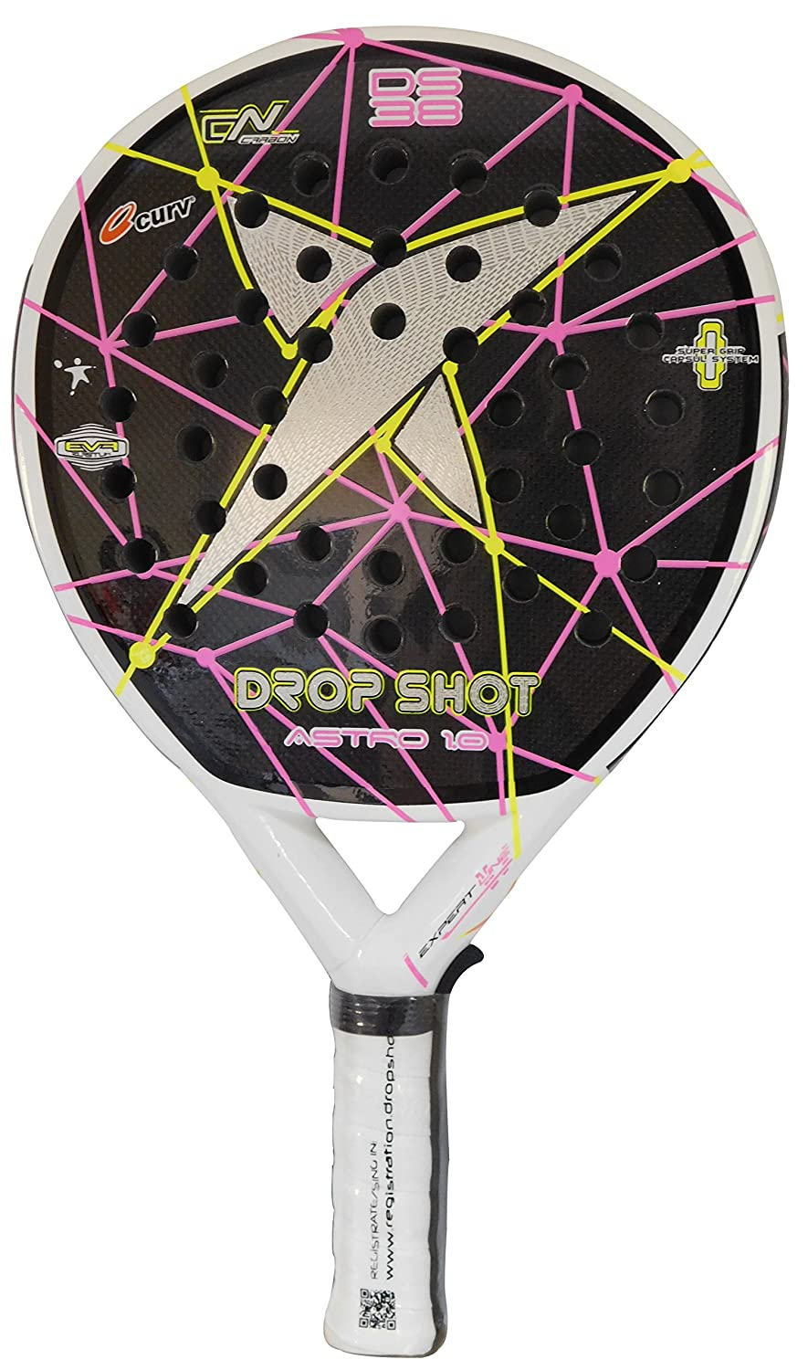 DROP SHOT Astro 1.0 - Pala de pádel, Color Negro/Rosa / Amarillo, Talla 38 mm: Amazon.es: Deportes y aire libre