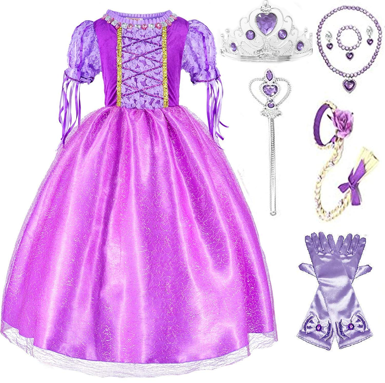 SweetNicole Princess Rapunzel Purple Princess Party Costume Dress with Accessories (7-8) by SweetNicole (Image #1)