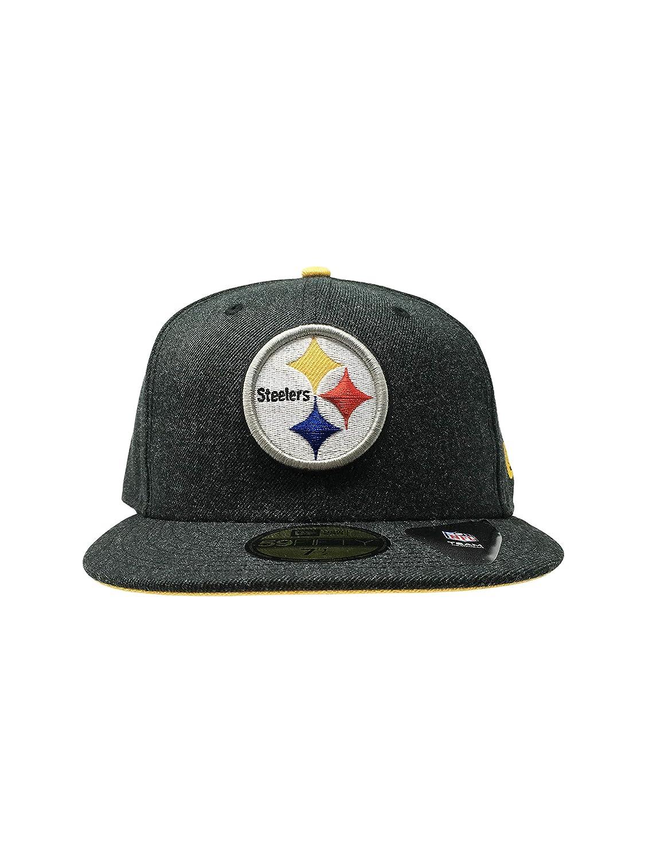 9b6a284c0 New Era Pittsburgh Steelers 59Fifty NFL Hat Flat Brim Cap (Heather Hype, 7  1/2)