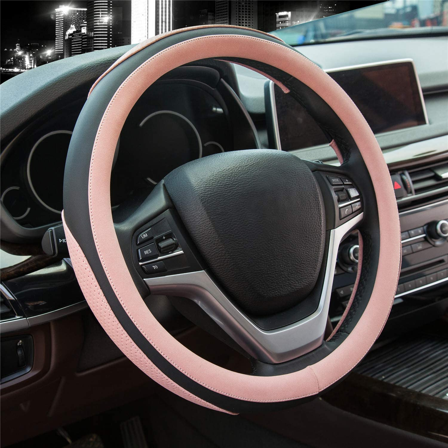 Pink Didida Steering Wheel Covers Soft Matte Microfiber Leather Non-Slip Sweat-Absorbent for Women Men Universal 15 Inch Car Decoration