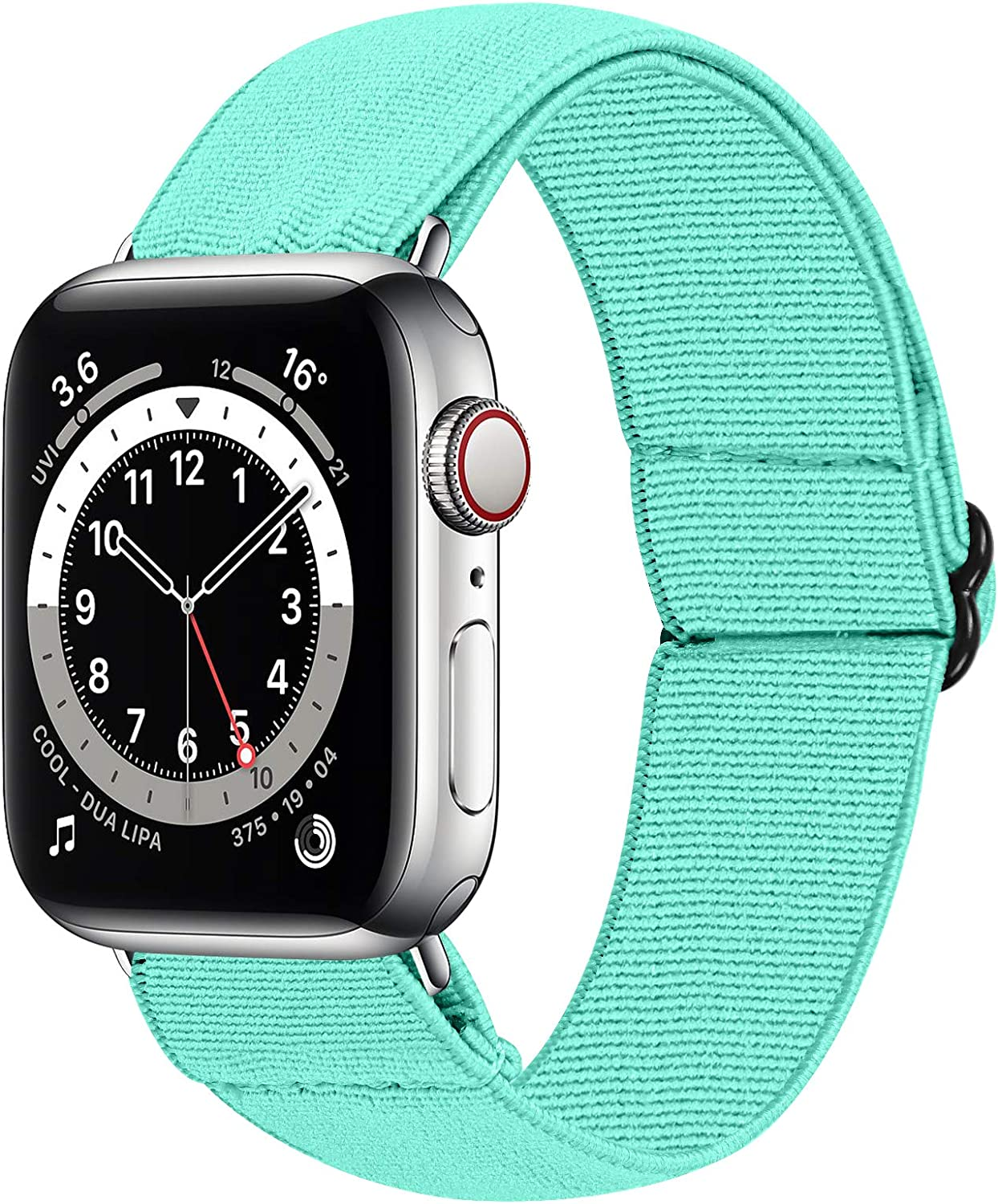 HAYUL Stretchy Nylon Bands Compatible with Apple Watch Bands 38mm 40mm 42mm 44mm, Adjustable Sport Elastics Women Men Wristband for iWatch Series 6/5/4/3/2/1 SE (Turquoise Green, 38/40mm)