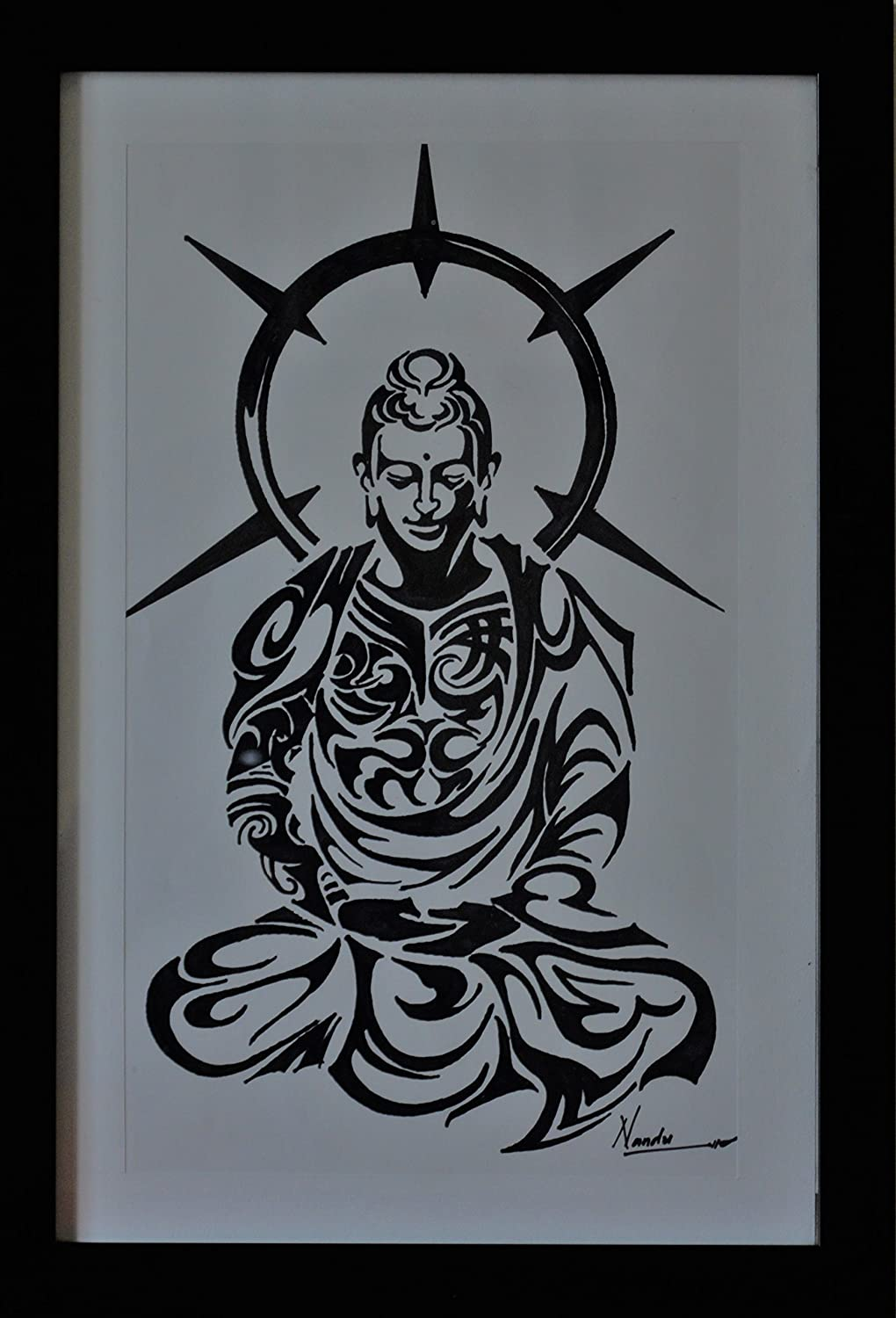 Buddha sketch on hand made paper by nandushreyas amazon in home kitchen