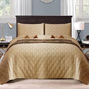 Exclusivo Mezcla 3-Piece Queen Size Quilt Set with Pillow Shams, as Bedspread/Coverlet/Bed Cover(Grid Weave Camel) - Soft, Lightweight, Reversible and Hypoallergenic