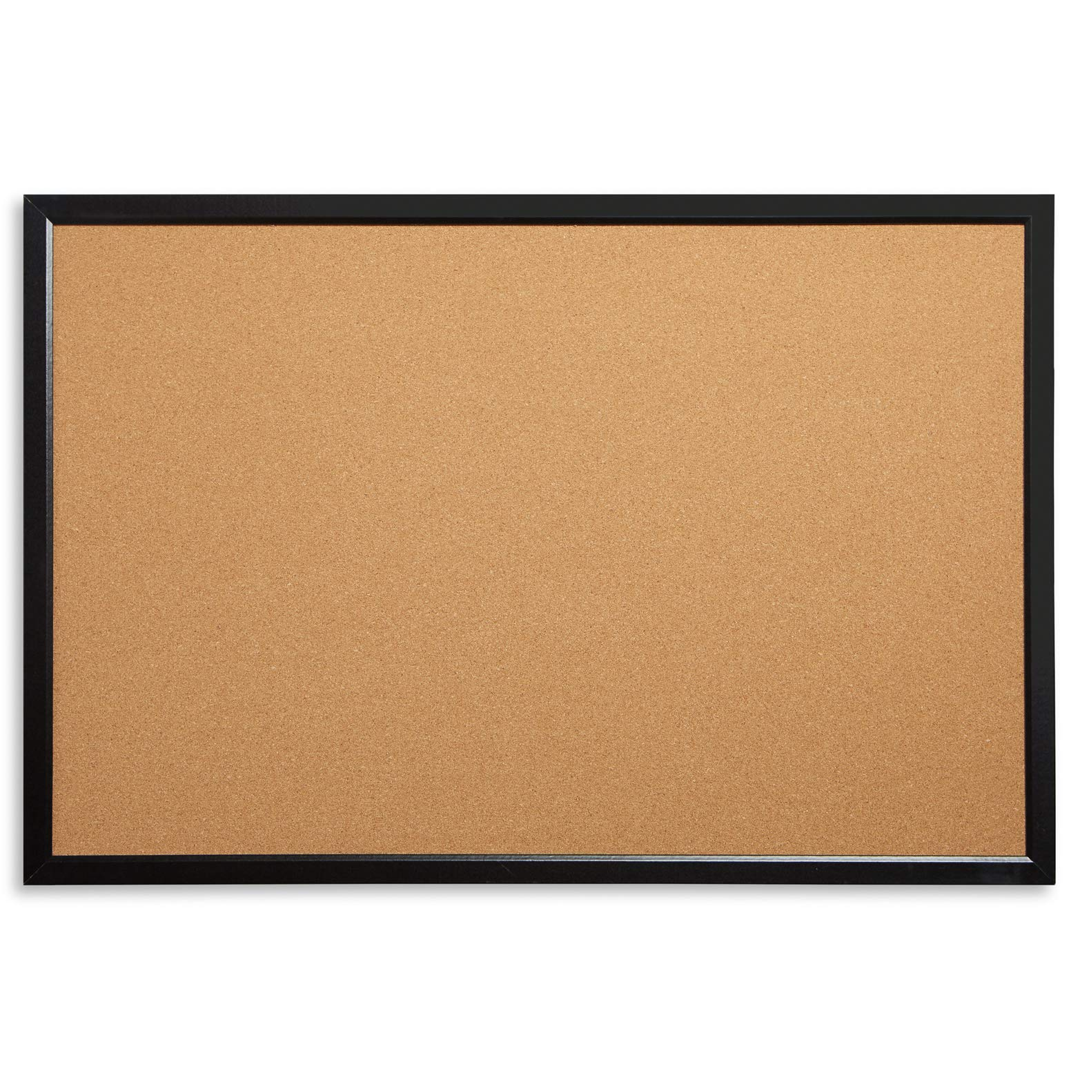 """Blue Summit Supplies 24"""" x 36"""" Corkboard with Black Wood Frame, Bulletin Board with Included Push Pins for Office, Classroom, or Home, Mounting Hardware Included"""