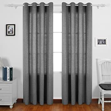 Deconovo Curtains Recycle Cotton Curtains Grommet Kitchen Curtains For Room  Black Melange Two Panels 52 X