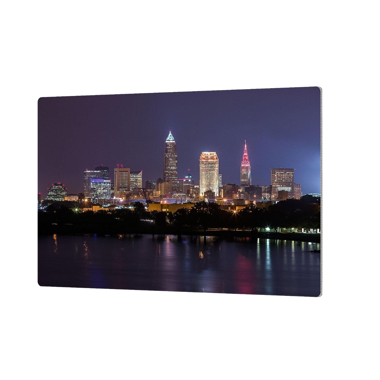 24 by 36 ArtWall Cody Yorks Cleveland Skyline 10 Artmetalz Aluminum Print