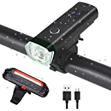 USB Rechargeable Bike Light Set, Powerful Lumens Bicycle Headlight and Tail Light, LED Front and Back Rear Lights Easy to Install for All Bicycles, Hybrid, Road, MTB, with Quick Release