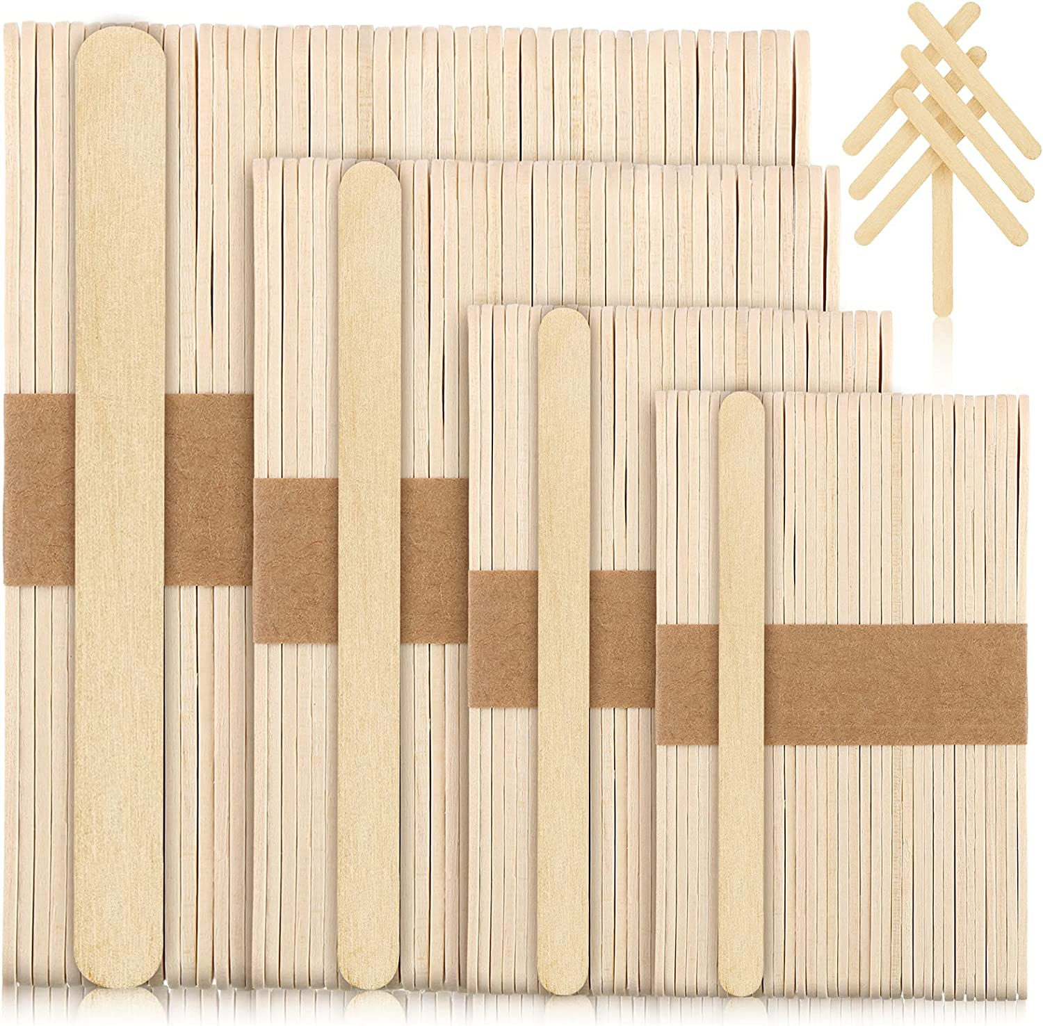 200 Pieces Wooden Popsicle Sticks 2.6, 4.5, 5.9, 7.9 Inch Long Wood Craft Food Sticks Ice-Cream Craft Sticks DIY Wood Waxing Sticks for Handicrafts Ice Cream Dessert Making, 4 Sizes