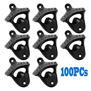 OrangeA Cast Iron Bottle Opener 100 Pcs Rustic Classic Wall Mount for Home Bars and Man Cave, Set of 100,