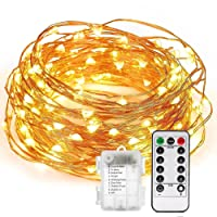 LED String Light 66ft Long, URAQT 200 LED Christmas Fairy Lights Waterproof Decorative Copper Wire Lights with Remote Control for Indoor & Outdoors - Warm White
