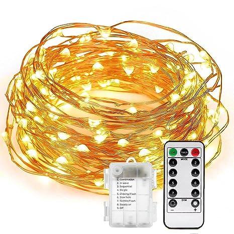 LED de luz de cadena, Uraqt 200 LED de luces de hadas de la Navidad 66 ...