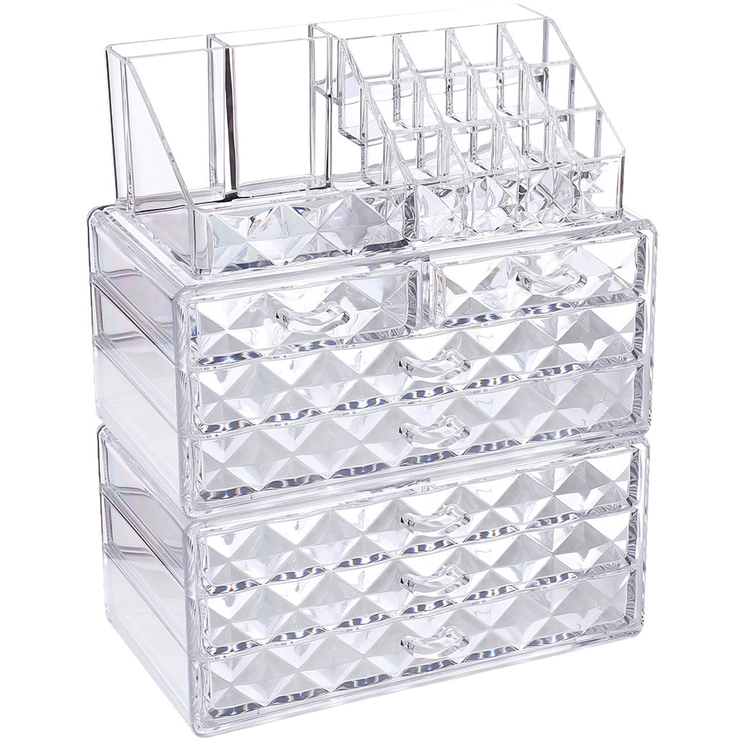 Ikee Design Acrylic Jewelry & Cosmetic/Makeup Storage Display Boxes Set. NILECORP COMS2915