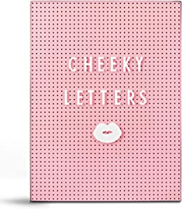 Cheeky Letters A4 Pink Letter Board with Custom Icons & Stand | Great for Home Decor, Pregnancy Announcements, Coffee bar | Cute Teen Girl Room Decor or Cafe Message Board