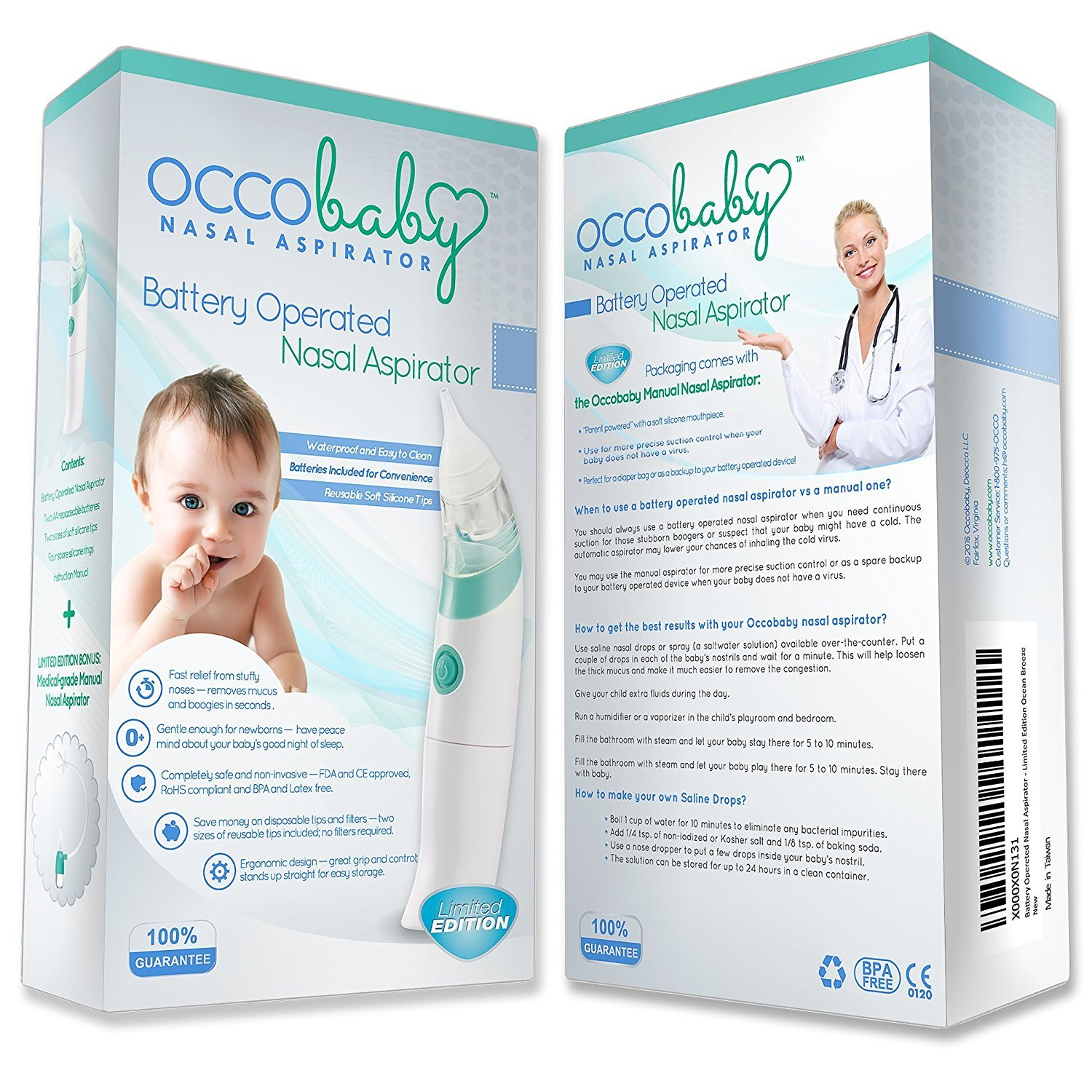 OCCObaby Baby Nasal Aspirator Safe Hygienic and Quick Battery Operated