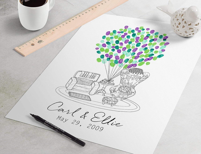 Custom Disney Pixar guestbook alternative fingerprint tree thumbprint tree Black and White Up Wedding Guest Book: Up Chairs fingerprint guest book