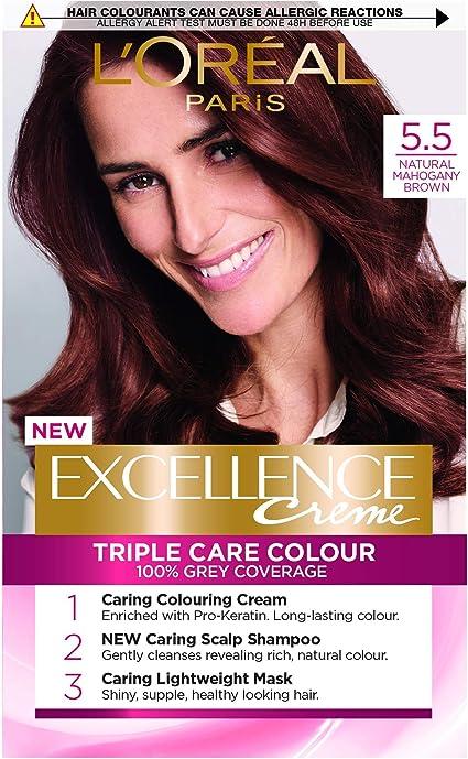 LOreal Excellence - Tinte permanente para cabello (5,5), color marrón caoba