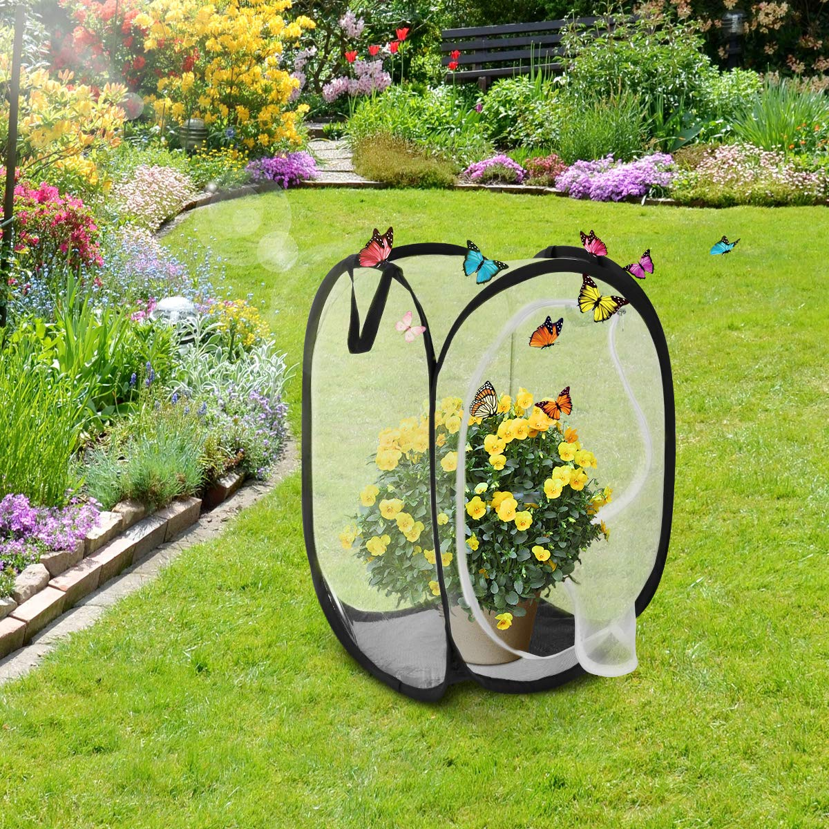 24 in Tall Black UEETEK Insect Butterfly Habitat Large Portable Insect Monarch Butterfly Mesh Net Cage Terrarium Pop-up