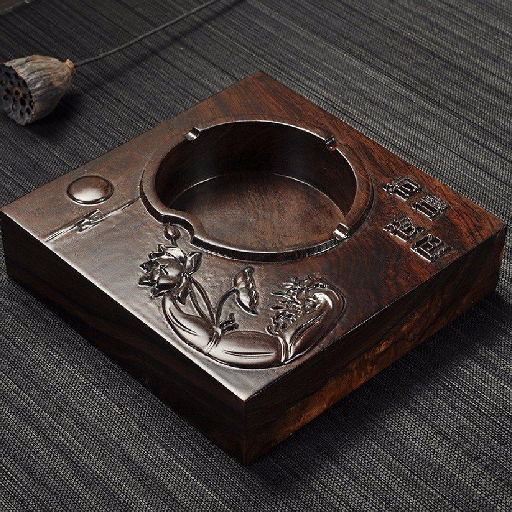 KHSKX madera de ébano cenicero, cenicero, madera cenicero de madera cenicero, retro,B a45e17