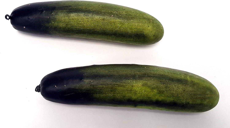Faux Fruits et l/égumes en Plastique Vert 20 cm Floral Silk Lot de 2 concombres artificiels en Soie