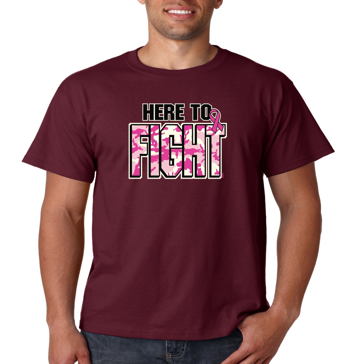 Breast Cancer Awareness T Shirt Here To Fight Mens Tee S-5XL