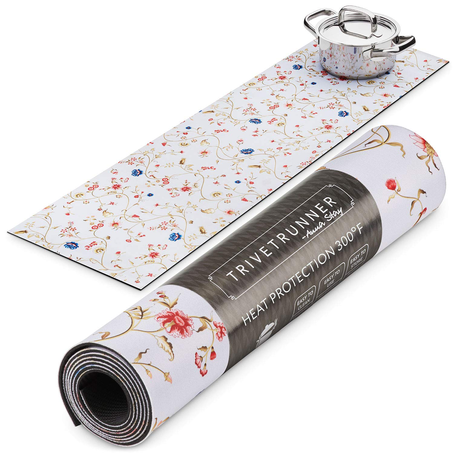 Trivetrunner :Decorative Trivet and Kitchen Table Runners Handles Heat Up to 300F, Anti Slip, Hand Washable, and Convenient for Hot Dishes and Pots,Hand Washable (spring floral)