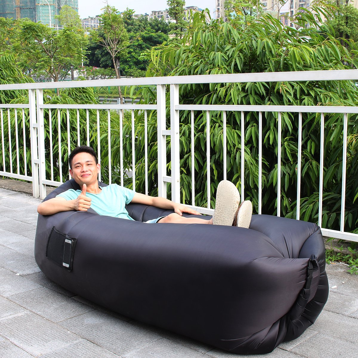 XYH Inflatable Lounger Couch, Portable Blow Up Lounge Chair, Pool Air  Hammock, Air Sofa and Pool Float Ships Fast, Waterproof Wind Breeze Bean  Bag, Fast Inflate Lounger for Beach, Camping.- Buy Online