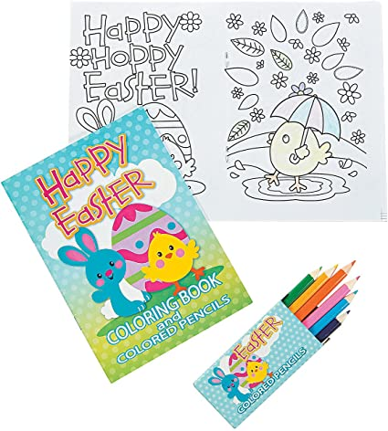 Amazon.com: Fun Express - Easter Coloring Book With Colored Pencil For  Easter - Stationery - Activity Books - Coloring Books - Easter - 12 Pieces:  Toys & Games