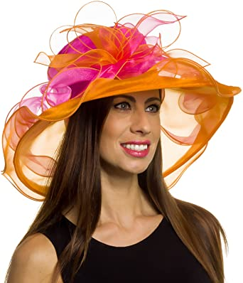 83158a5f15e Silver Lilly Women's Wide Brim Organza Kentucky Derby Church Hat
