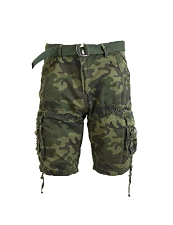 f555fa4bef Galaxy by Harvic Mens Cotton Belted Cargo Shorts Vintage Distressed Jetlag  Lounge Sizes 30-48 NWT | Amazon.com