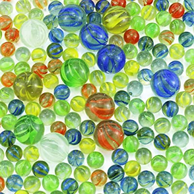"(312+ Count) 12 1"" Large Marbles And 300 5/9""Marbles in bulk Glass Marbles, Assorted Colors: Toys & Games"