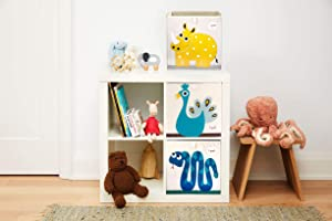 3 Sprouts Cube Storage Boxes - Organizer Containers for Kids & Toddlers, Safari Set