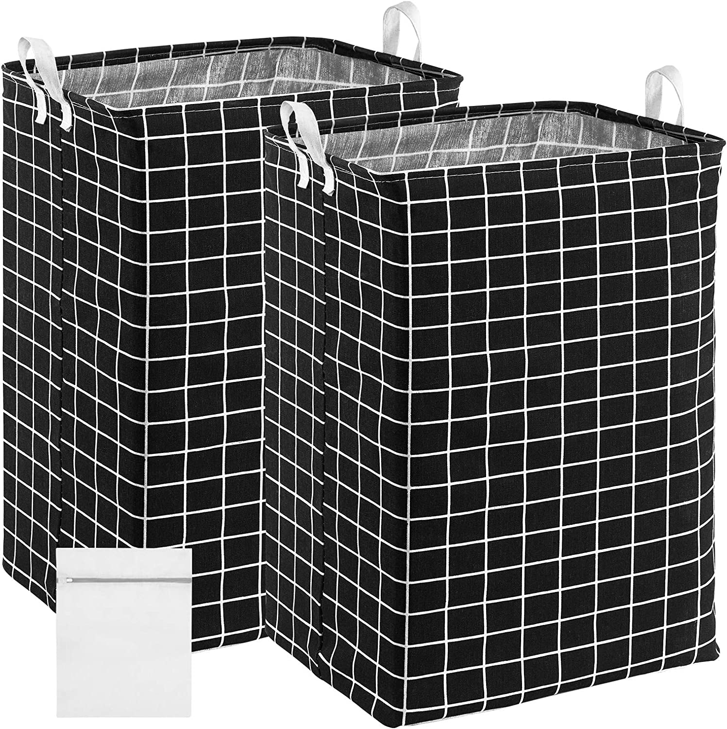 X-Large Black Linen Hampers with Handles Come with Laundry Bag Bonus CALIVO 72L Laundry Baskets 2 Pack Well-Holding Foldable Storage Bins for Clothes Toys Nursery Organization