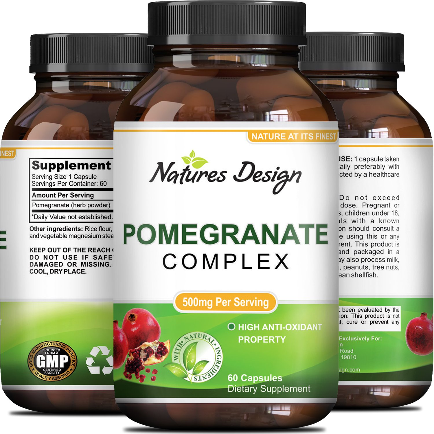 Natural & Pure Pomegranate Supplement For Women & Men - Powerful Antioxidant Pills + Immune System Booster - Best Energy Booster Supplements + Blood Pressure Control - Pure Capsules By Natures Design